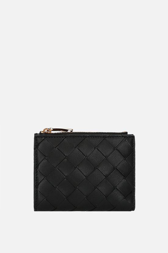 BOTTEGA VENETA: Intrecciato nappa flap wallet Color Black_1