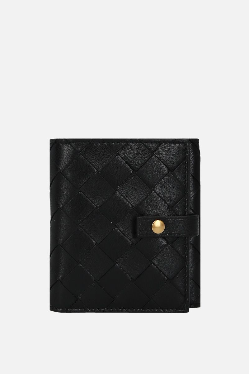 BOTTEGA VENETA: Intrecciato nappa small french wallet Color Black_1
