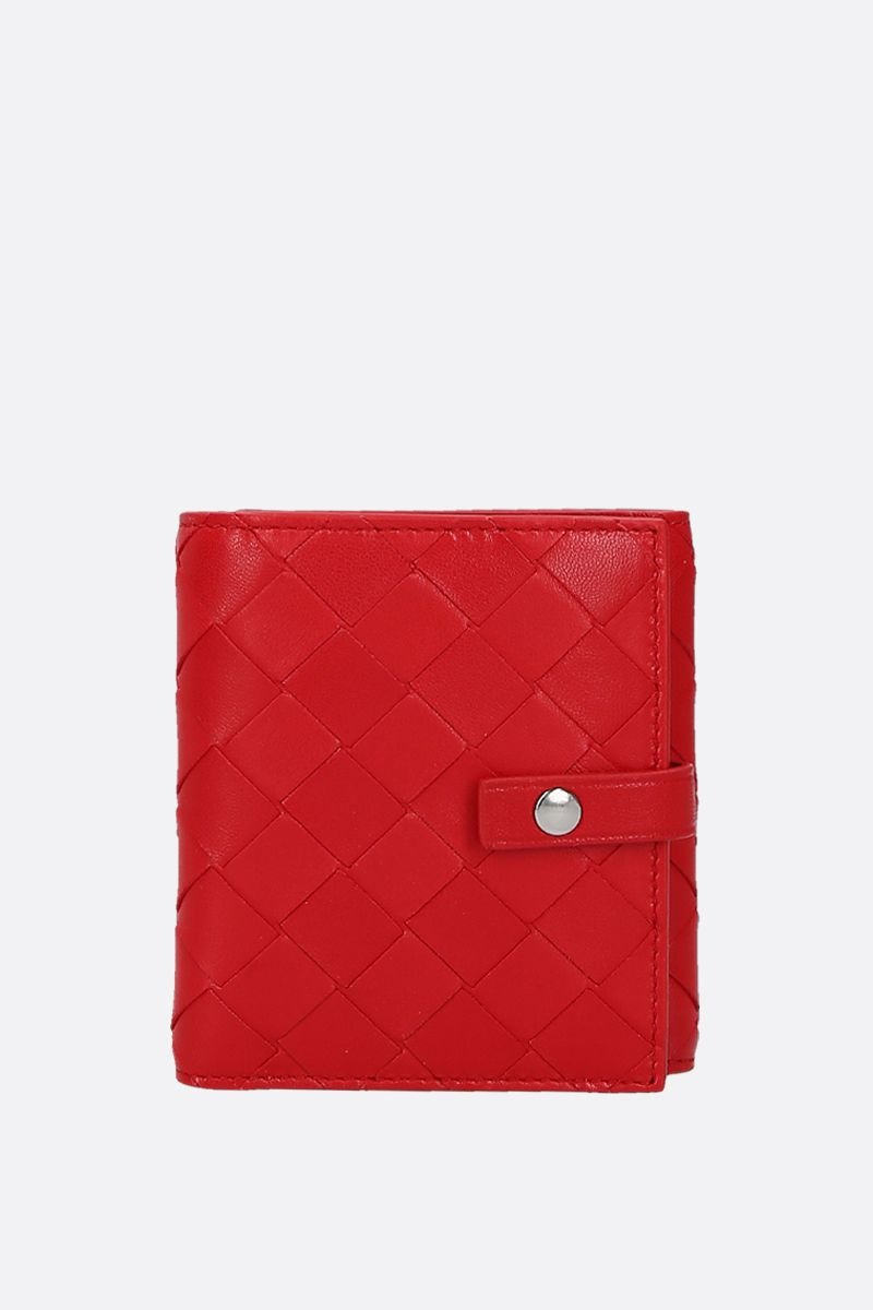 BOTTEGA VENETA: Intrecciato nappa small french wallet Color Red_1