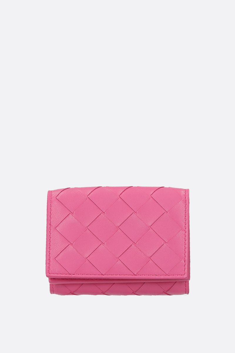 BOTTEGA VENETA: Intrecciato nappa mini tri-fold wallet Color Pink_1
