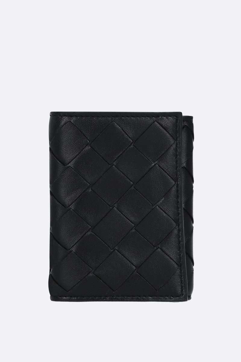 BOTTEGA VENETA: Intrecciato nappa mini tri-fold wallet Color Black_1