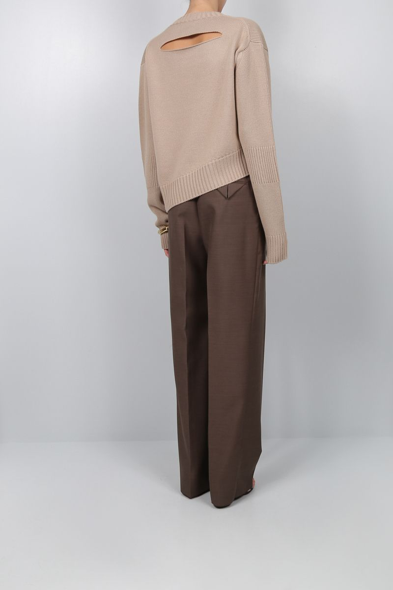 BOTTEGA VENETA: wool blend pullover with opening detail Color Grey_2
