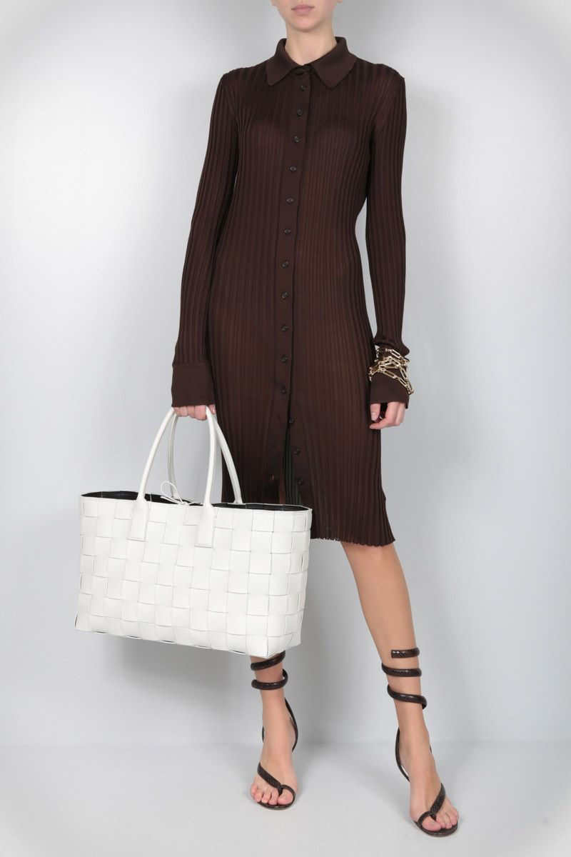 BOTTEGA VENETA: rib silk knit sweater dress Color Brown_2