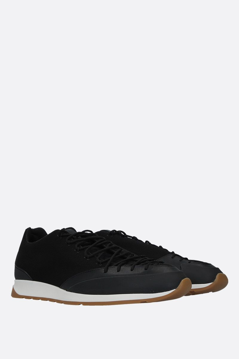 BOTTEGA VENETA: mesh and smooth leather sneakers Color Black_2