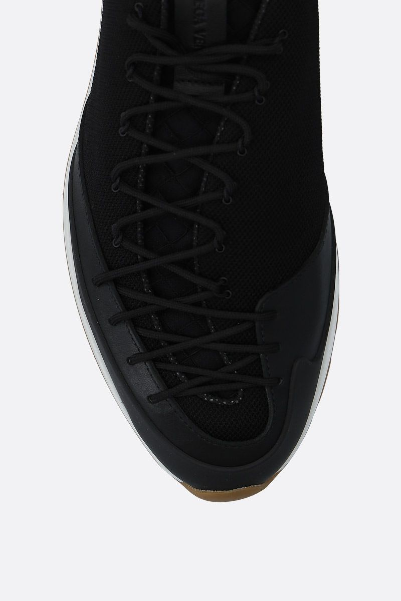 BOTTEGA VENETA: mesh and smooth leather sneakers Color Black_4
