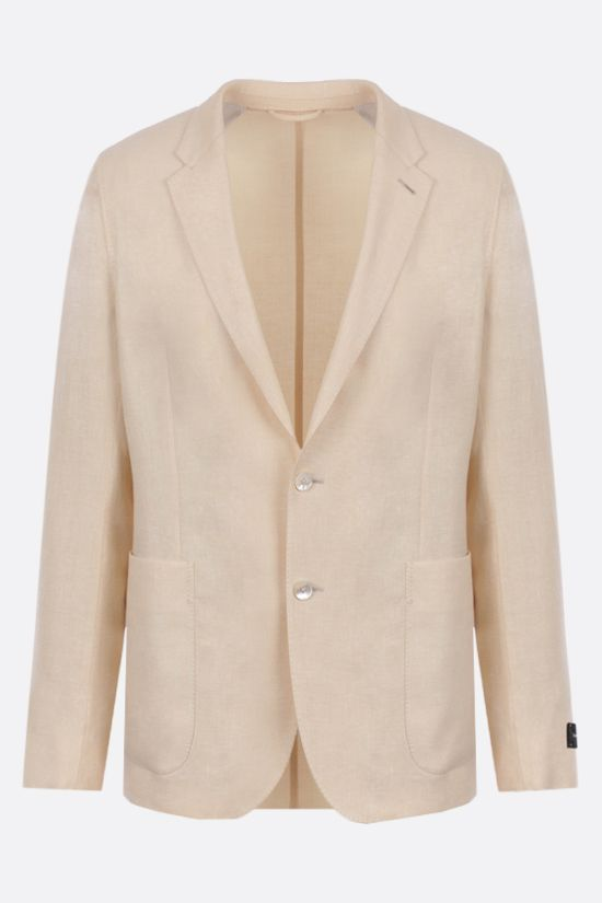 ERMENEGILDO ZEGNA: silk, wool and linen blend single-breasted jacket Color Neutral_1