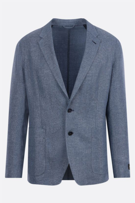 ERMENEGILDO ZEGNA: silk, wool and linen blend single-breasted jacket Color Blue_1