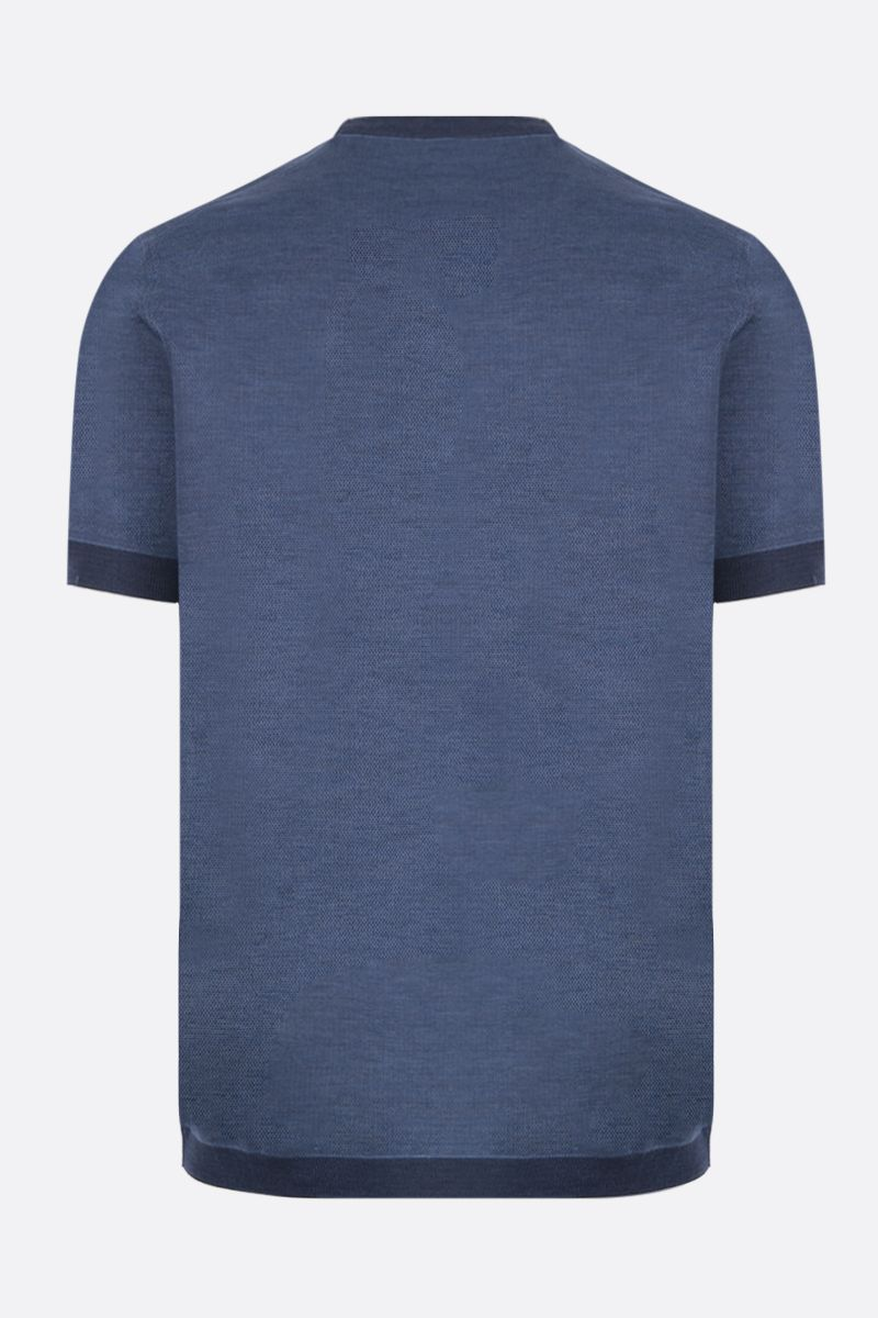 ERMENEGILDO ZEGNA: silk cotton blend t-shirt Color Blue_2