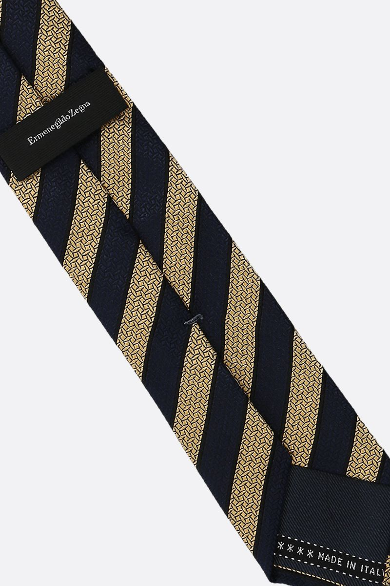ERMENEGILDO ZEGNA: striped silk jacquard tie Color Grey_2