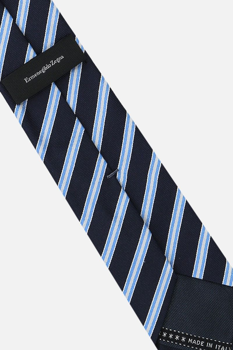 ERMENEGILDO ZEGNA: striped silk tie Color Blue_2