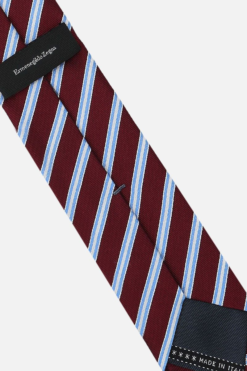 ERMENEGILDO ZEGNA: striped silk tie Color Red_2