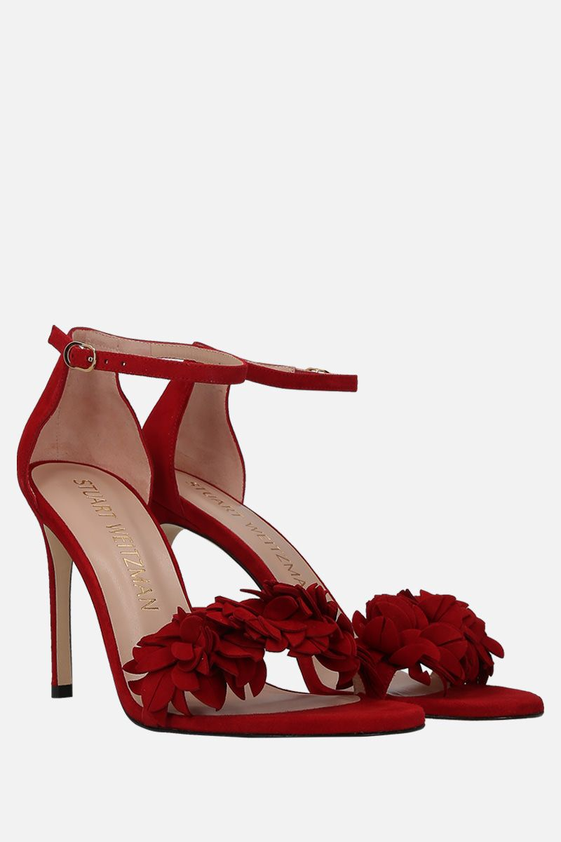 STUART WEITZMAN: Nudistong Flower suede sandals Color Red_2