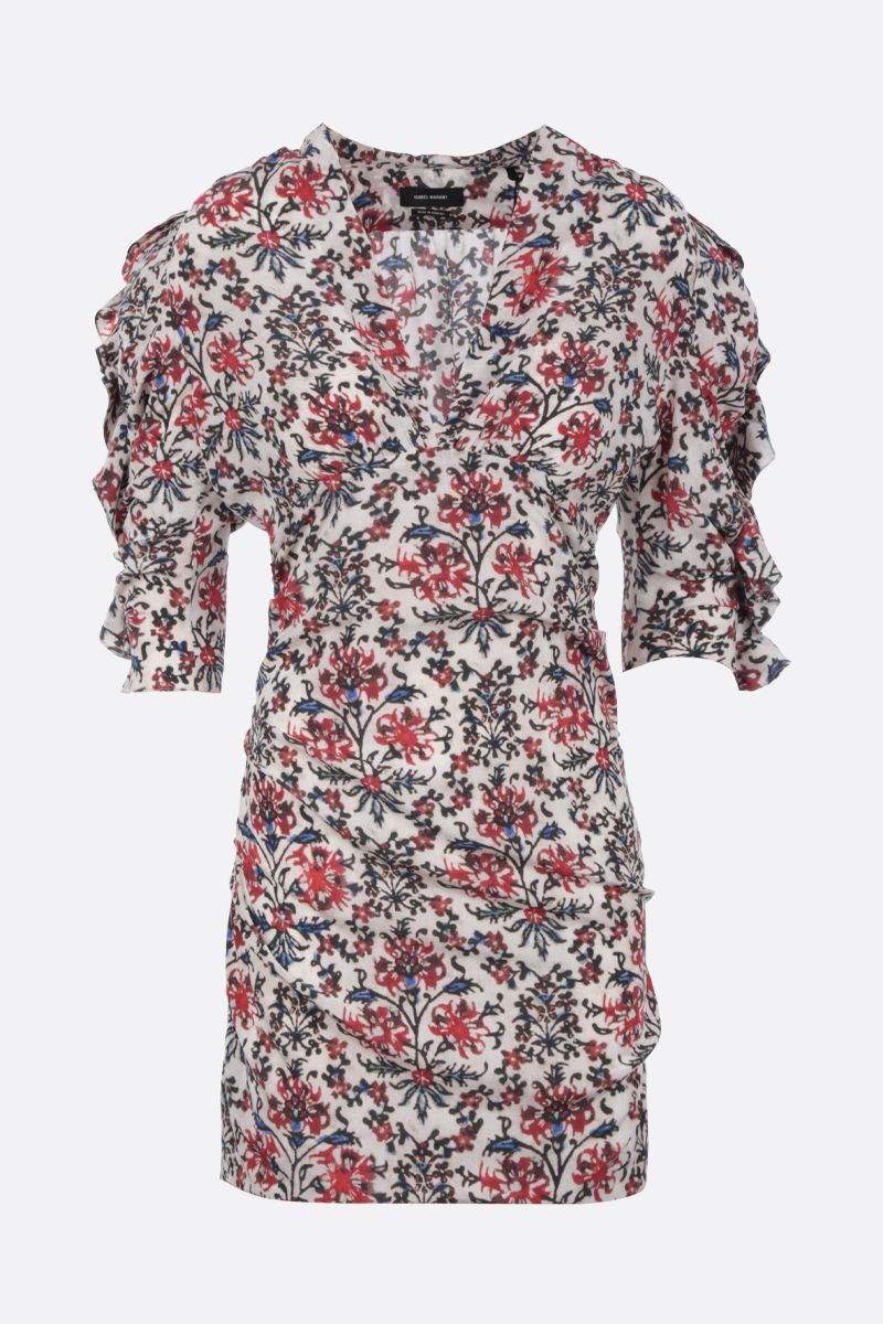 ISABEL MARANT: Farah minidress in printed stretch silk Color Red_1