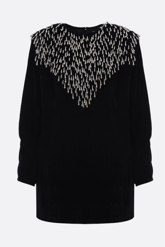 ISABEL MARANT: Gabasi velvet minidress Color Black_1