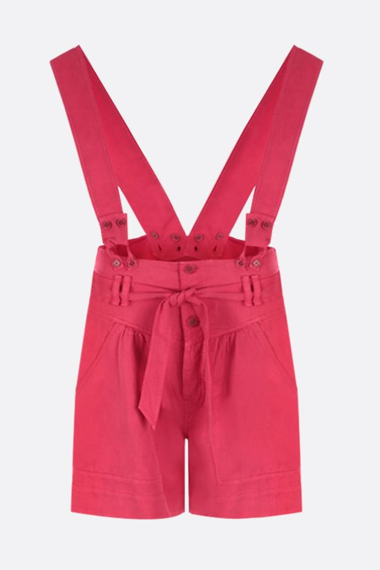 ISABEL MARANT: Flink twill shorts with removable suspenders Color Red_1