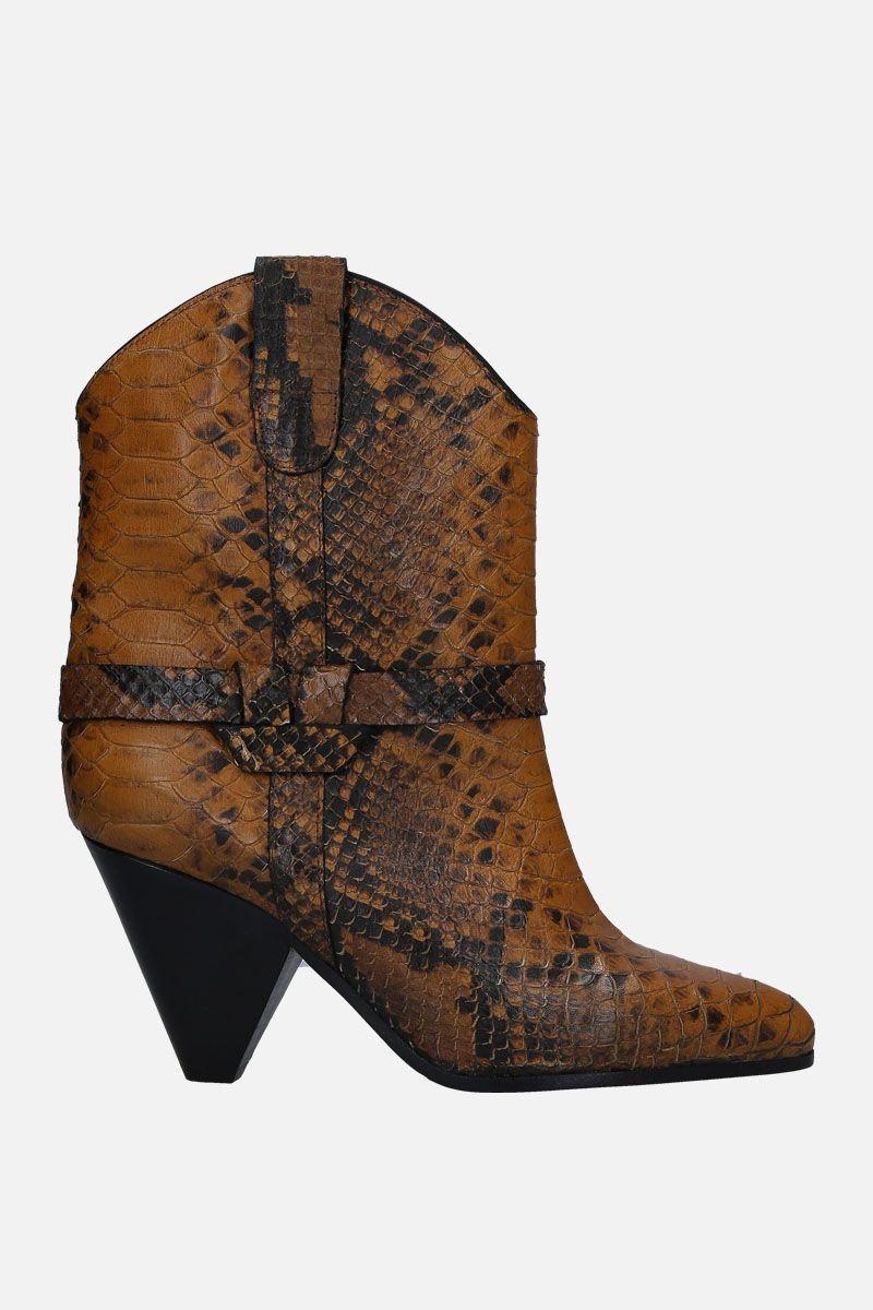 ISABEL MARANT: Deane western boots in python embossed leather Color Yellow_1