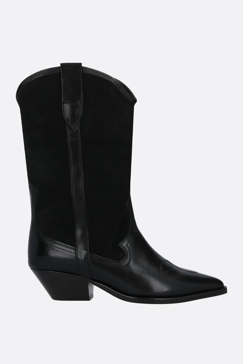 ISABEL MARANT: Dandrea suede and smooth leather western boots Color Black_1