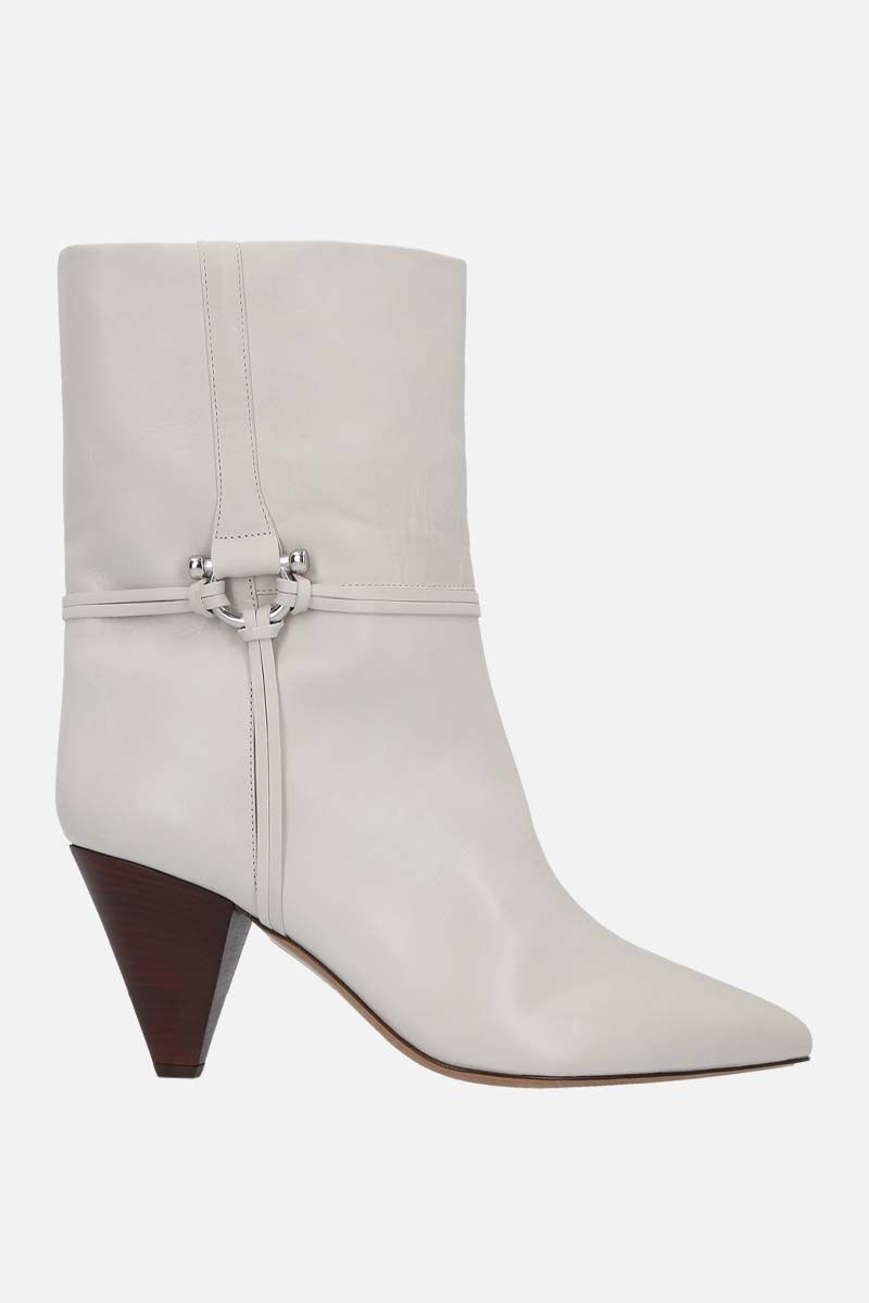 ISABEL MARANT: Lilet smooth leather booties Color White_1