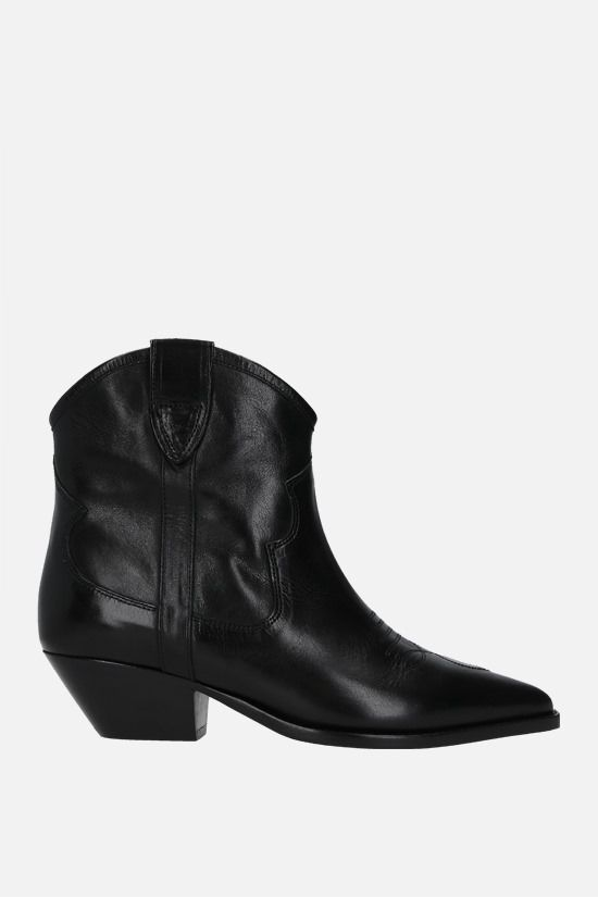 ISABEL MARANT: Demar smooth leather western boots Color Black_1