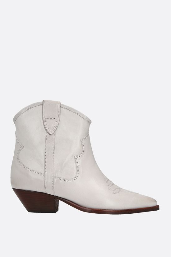 ISABEL MARANT: Demar smooth leather western boots Color Neutral_1