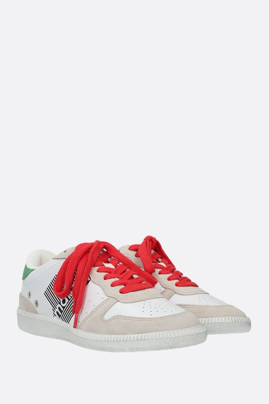 ISABEL MARANT: Bulian smooth leather and suede sneakers Color Green_2