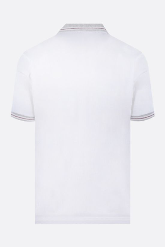 ELEVENTY: stripe-detailed cotton polo shirt Color White_2