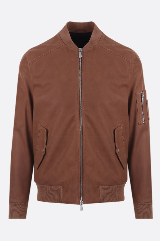 ELEVENTY: nabuk full-zip bomber jacket Color Brown_1