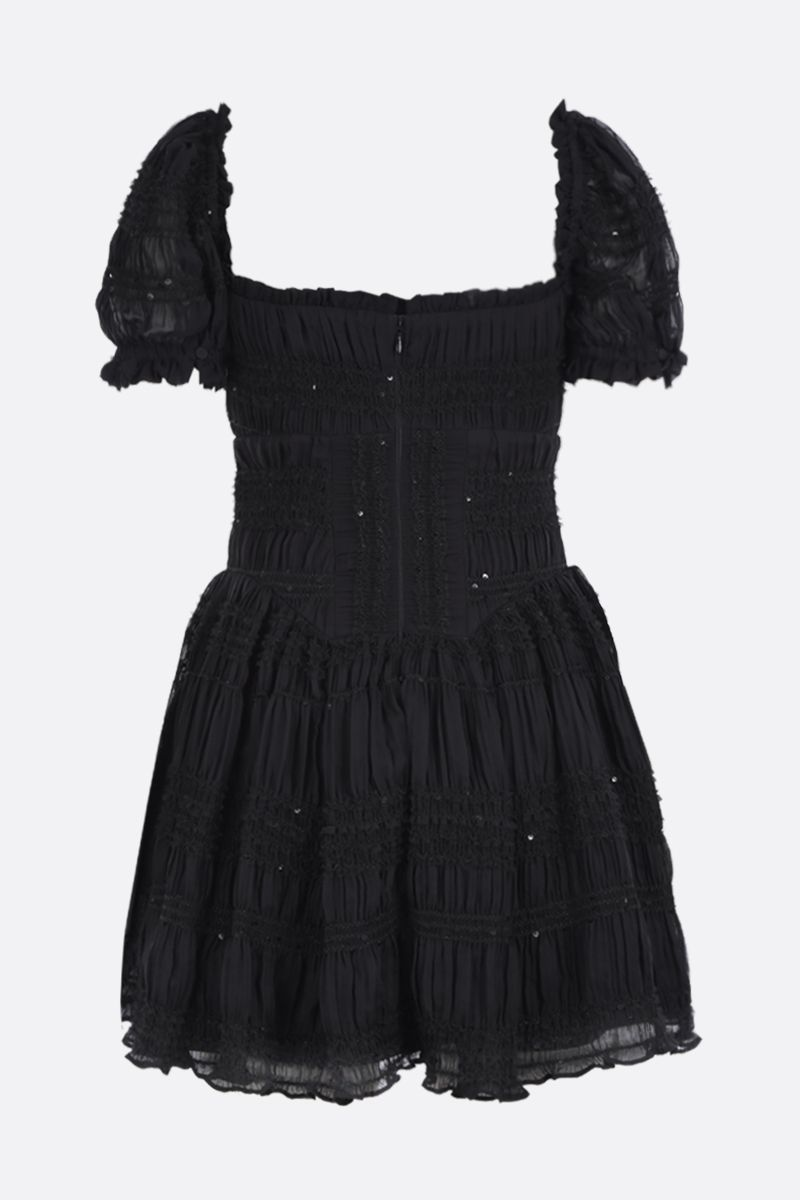 SELF PORTRAIT: shirred chiffon minidress with tulle trims Color Black_2