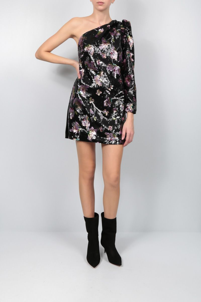 SELF PORTRAIT: Midnight Bloom sequinned one-shoulder minidress Color Multicolor_2