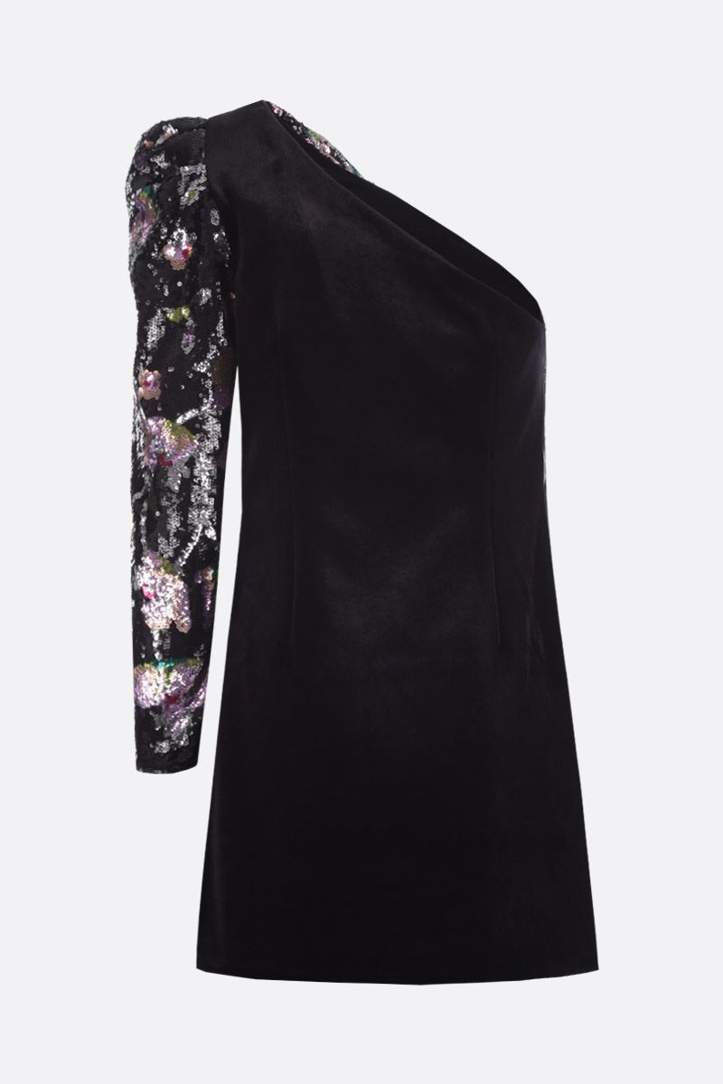SELF PORTRAIT: Midnight Bloom sequinned one-shoulder minidress Color Multicolor_3