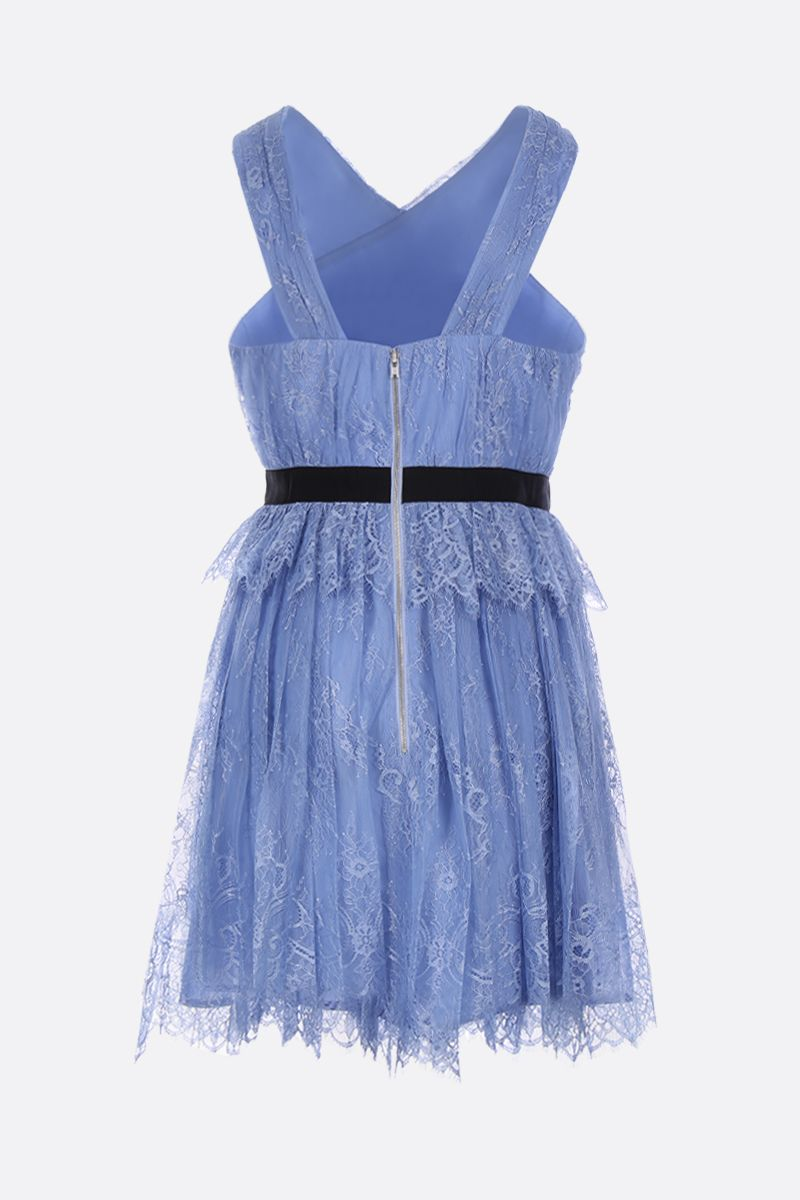 SELF PORTRAIT: floral fine lace minidress Color Blue_2