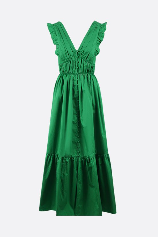 SELF PORTRAIT: long cotton dress Color Green_1
