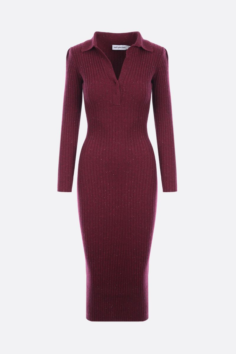 SELF PORTRAIT: ribbed cashmere wool blend midi dress Color Red_1