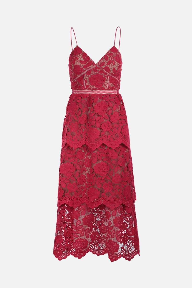 SELF PORTRAIT: floral lace flounced dress Color Red_1