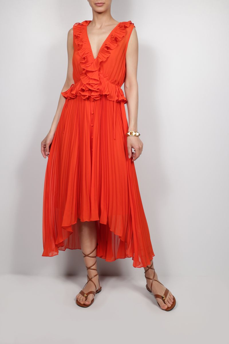 SELF PORTRAIT: ruffled chiffon pleated dress Color Orange_2