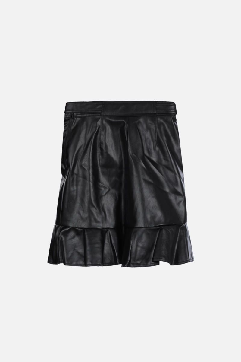SELF PORTRAIT: faux leather flounced miniskirt Color Black_2