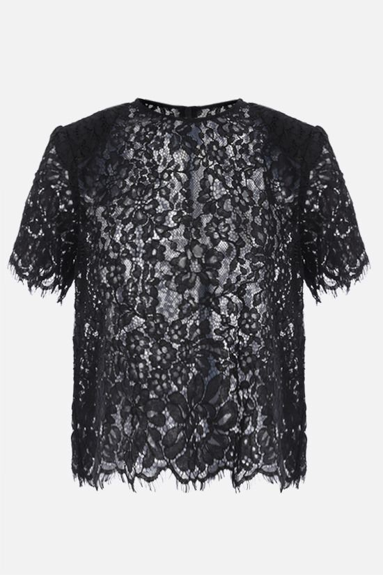 SELF PORTRAIT: cord lace short-sleeved top Color Black_1