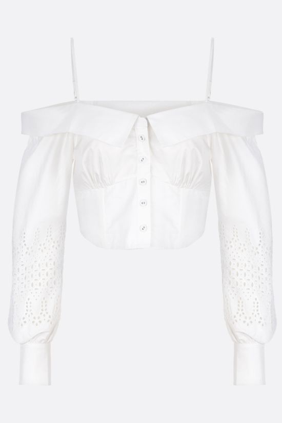 SELF PORTRAIT: lace-detailed poplin cropped top Color White_1