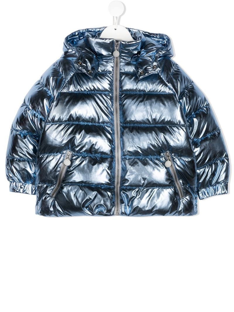 STELLA McCARTNEY KIDS: laminated nylon padded jacket Color Blue_1