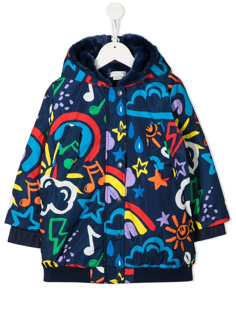 STELLA McCARTNEY KIDS: Weather print nylon hooded jacket_1