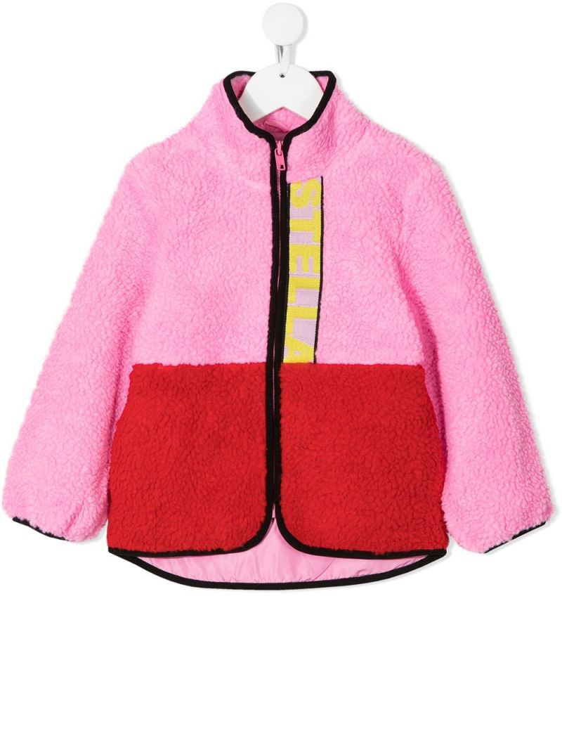 STELLA McCARTNEY KIDS: full-zip colour-block faux fur jacket Color Pink_1
