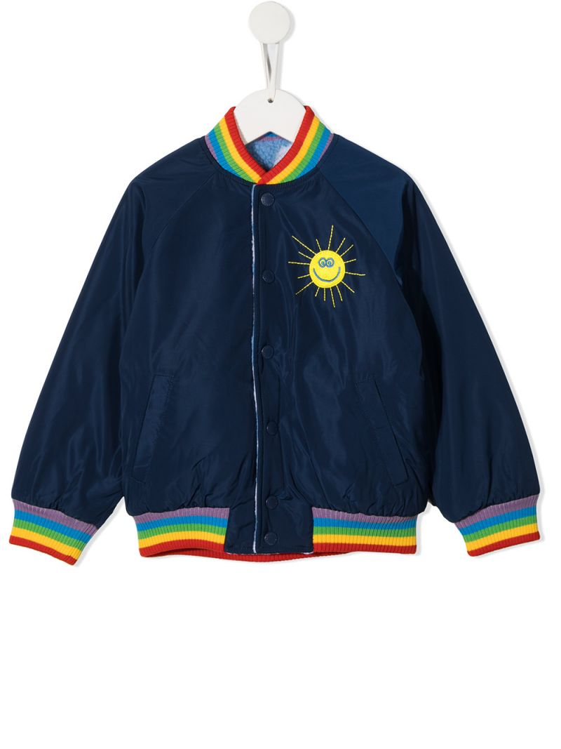STELLA McCARTNEY KIDS: Sunshine embroidered nylon bomber jacket Color Blue_1