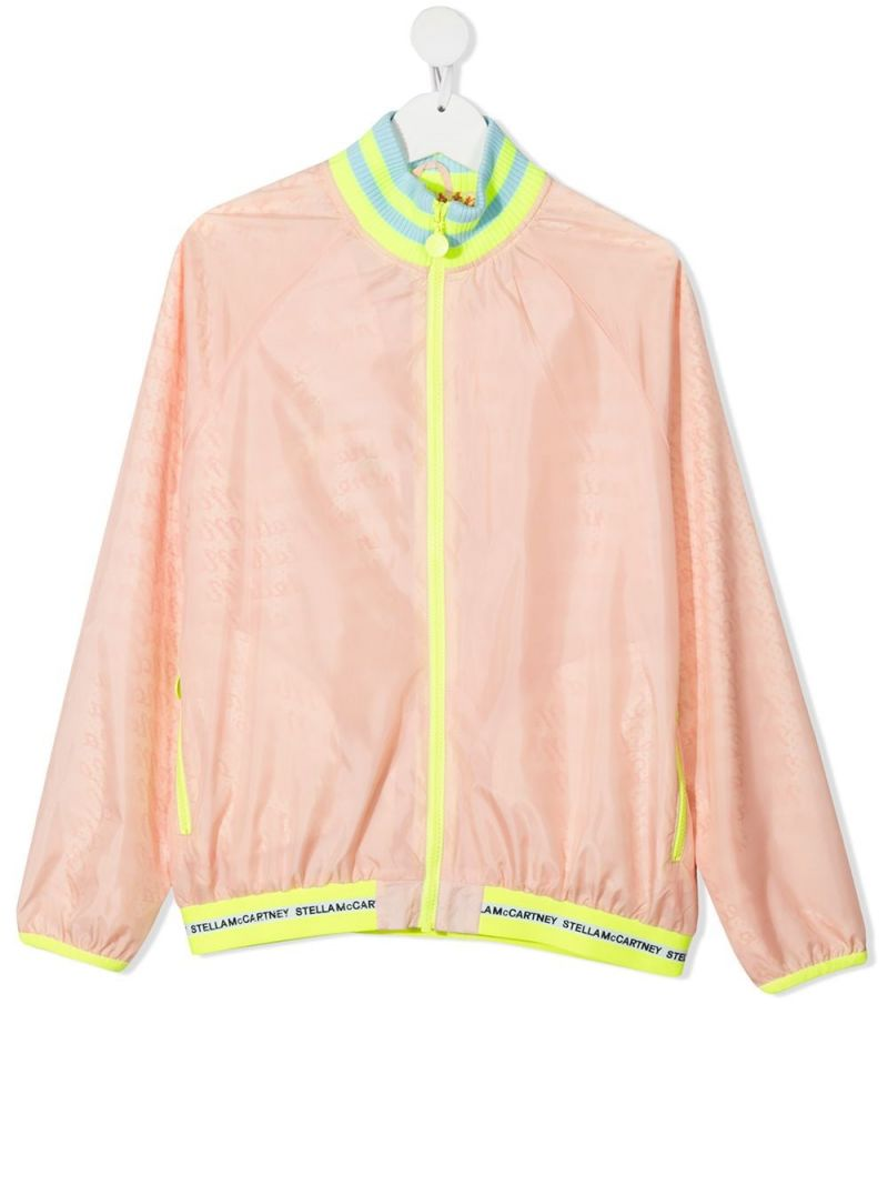 STELLA McCARTNEY KIDS: logo-detailed recycled nylon bomber jacket Color Multicolor_1