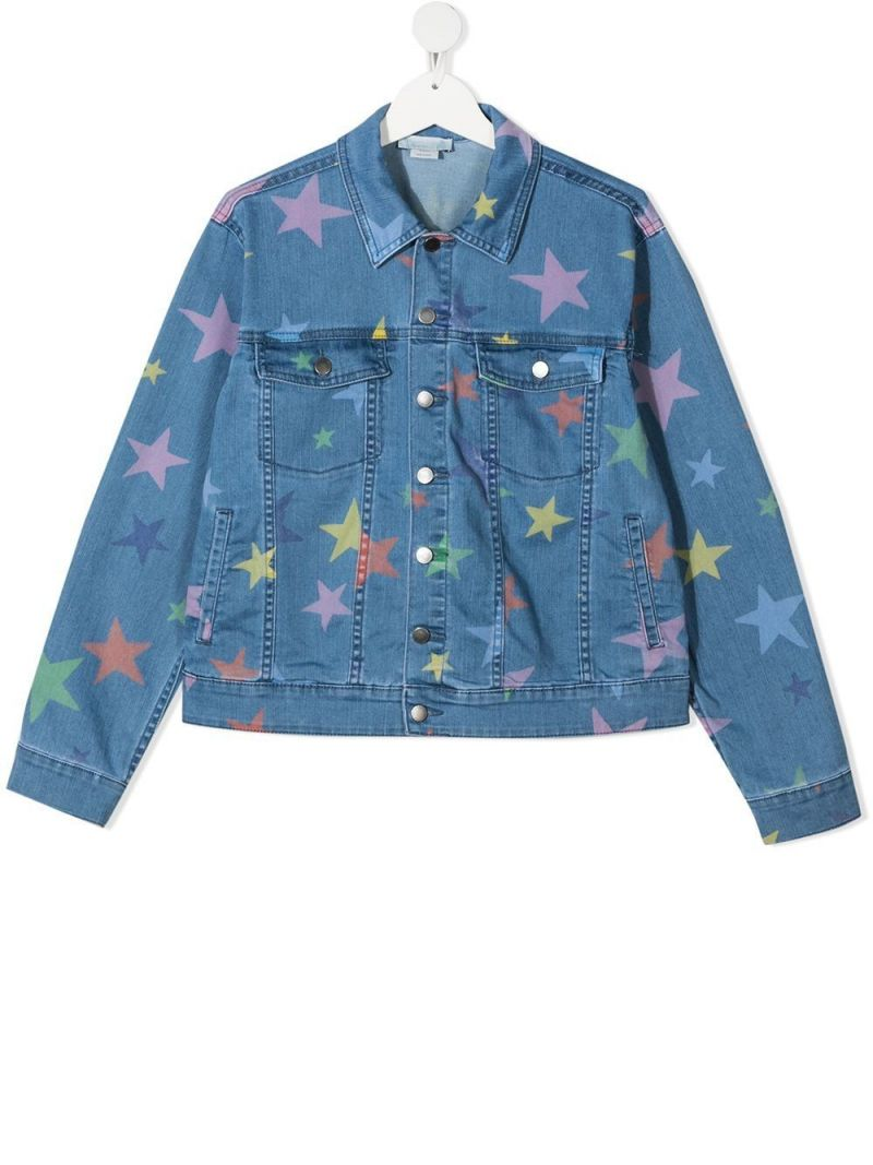 STELLA McCARTNEY KIDS: star print denim jacket Color Multicolor_1