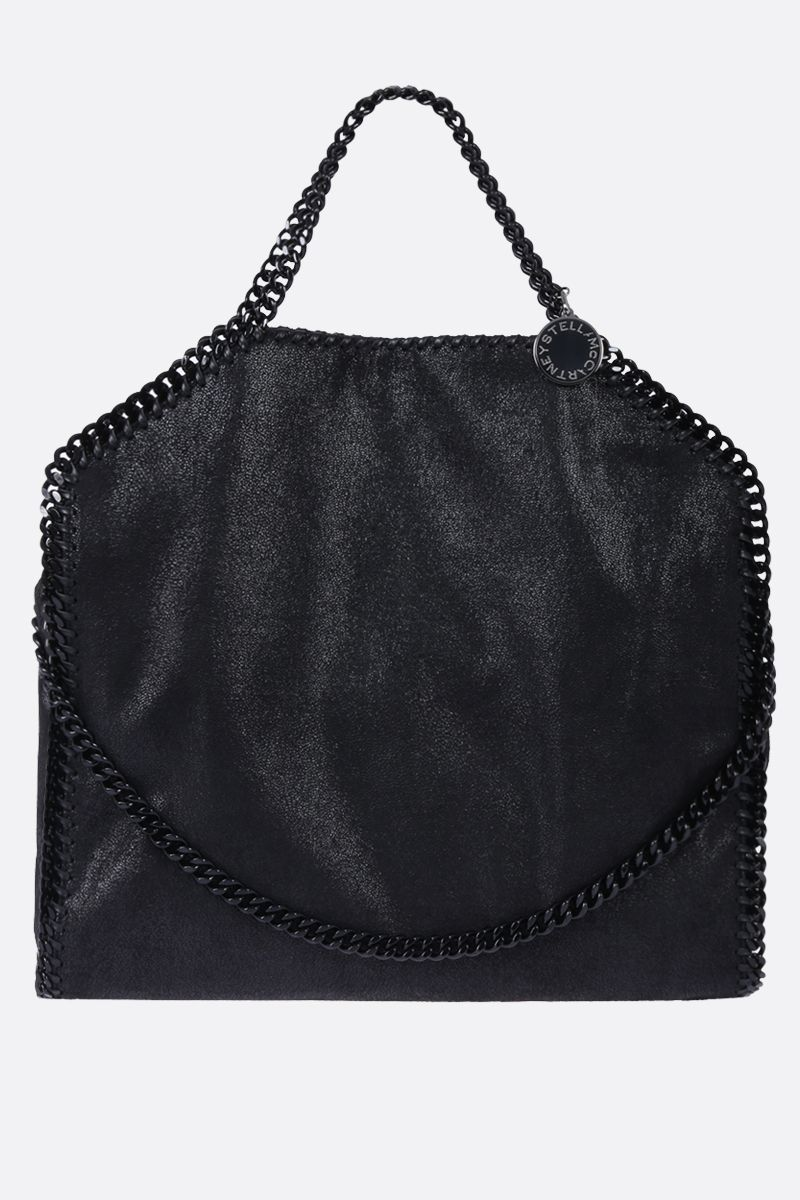 STELLA McCARTNEY: Falabella Fold Over tote in Shaggy Deer Color Black_1