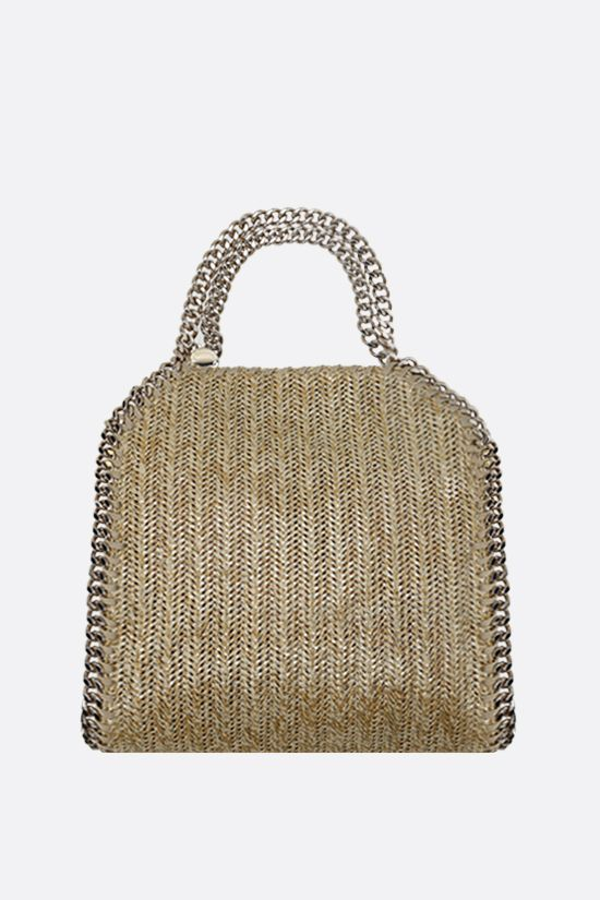 STELLA McCARTNEY: Falabella mini tote in woven fabric Color Gold_1