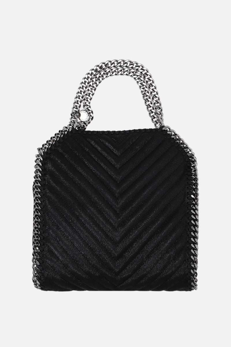 STELLA McCARTNEY: Falabella mini tote bag in quilted Shaggy Deer Color Black_1