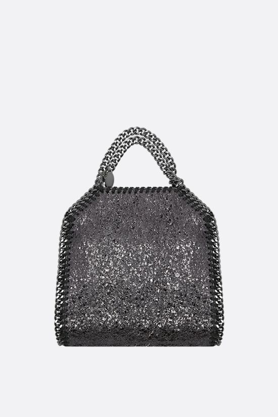 STELLA McCARTNEY: Falabella tiny tote in crakle fabric Color Grey_1