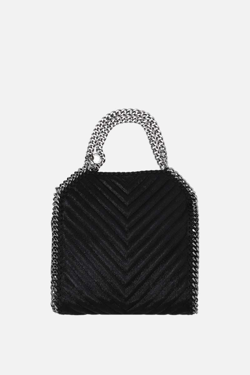 STELLA McCARTNEY: Falabella tiny tote bag in quilted Shaggy Deer Color Black_1