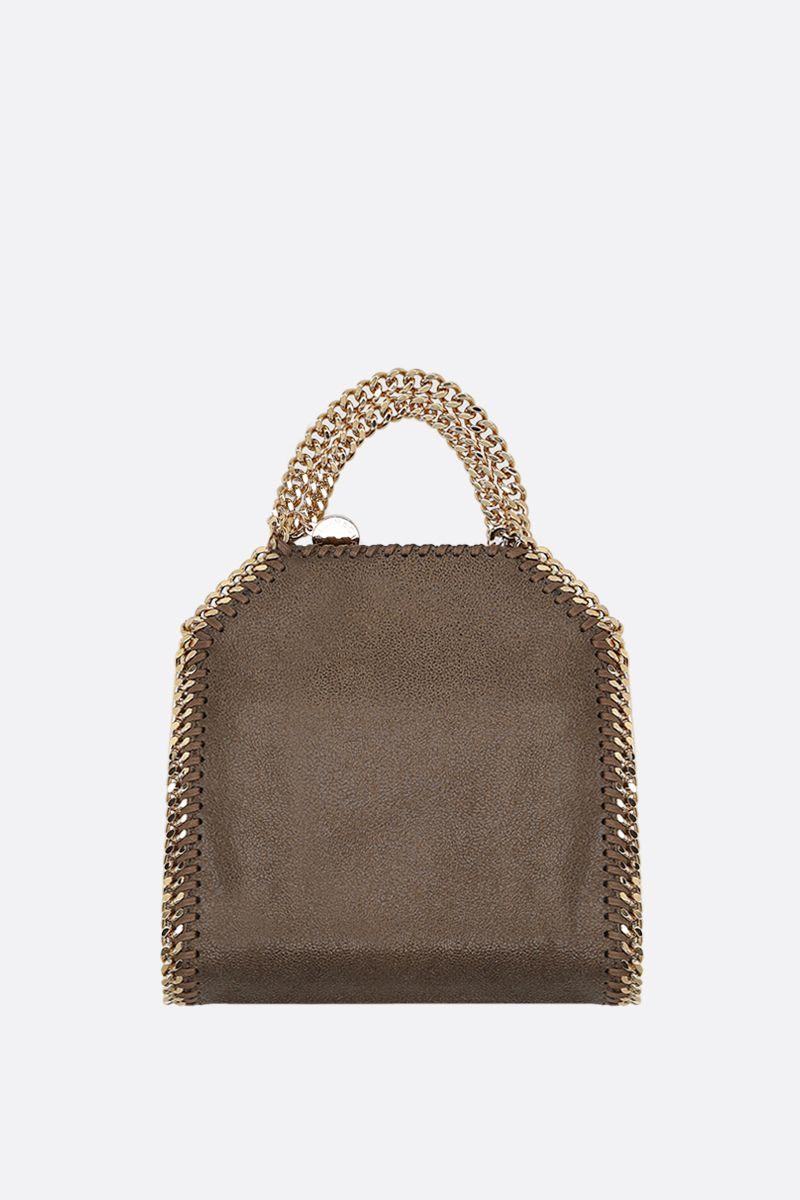 STELLA McCARTNEY: Falabella tiny tote bag in quilted Shaggy Deer Color Green_1